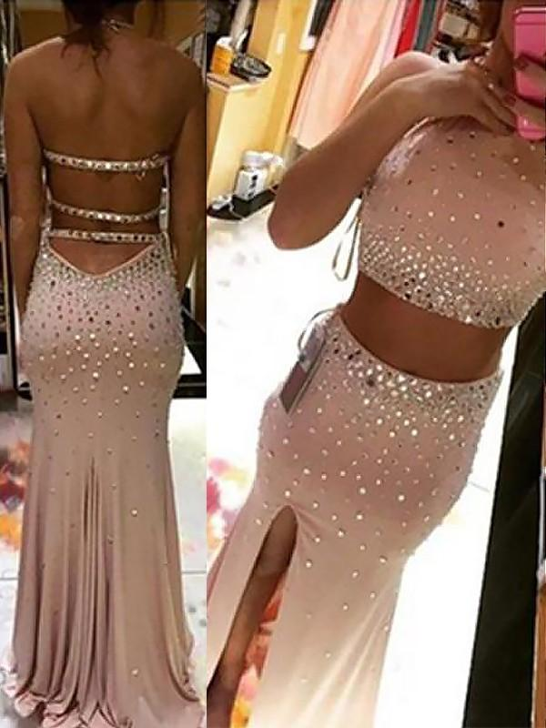 Chicloth Sheath Halter Sleeveless With Beading Sweep/Brush Train Spandex Two Piece Dresses-Prom Dresses-Chicloth