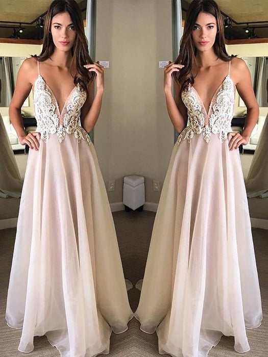 Chicloth A-Line Spaghetti Straps Sleeveless Floor-Length With Applique Chiffon Dresses-Prom Dresses-Chicloth