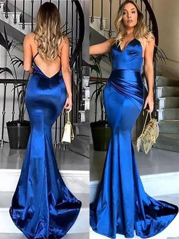 Chicloth Sheath V-Neck Sleeveless Sweep/Brush Train With Ruched Satin Dresses-Prom Dresses-Chicloth