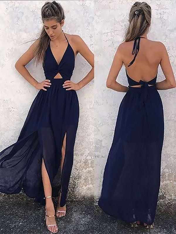 Chicloth A-Line V-Neck Sleeveless Floor-Length With Ruched Chiffon Dresses-Prom Dresses-Chicloth