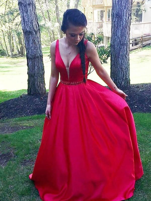 Chicloth A-Line V-Neck Floor-Length Satin Sleeveless With Beading Dresses-Prom Dresses-Chicloth