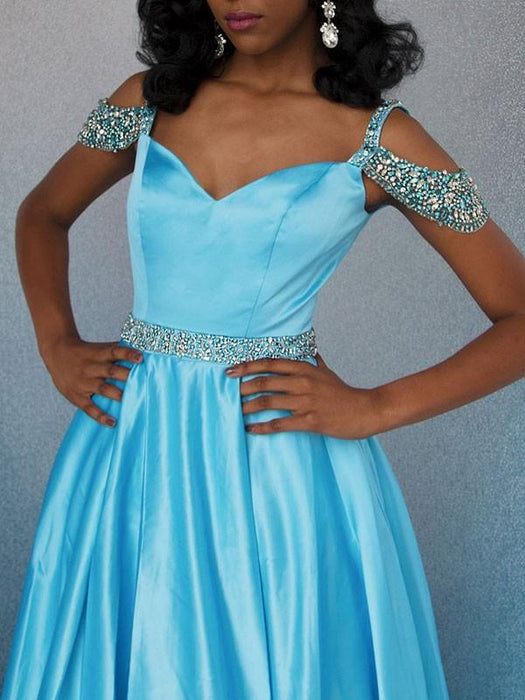 Chicloth A-Line Sweetheart Sleeveless Sweep/Brush Train With Beading Satin Dresses-Prom Dresses-Chicloth