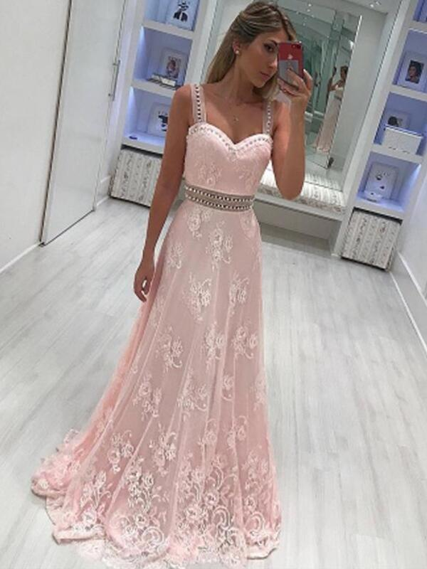 Chicloth A-Line Sweetheart Sleeveless Floor-Length With Applique Satin Dresses-Prom Dresses-Chicloth