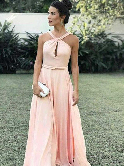 Chicloth A-Line Halter Sleeveless Floor-Length With Ruched Chiffon Dresses-Prom Dresses-Chicloth