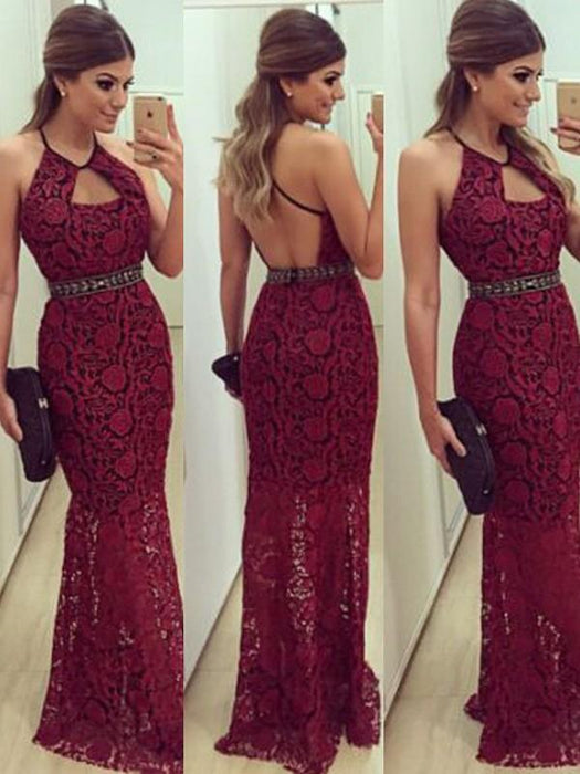 Chicloth Sheath Lace Halter Sleeveless Floor-Length With Beading Dresses-Prom Dresses-Chicloth