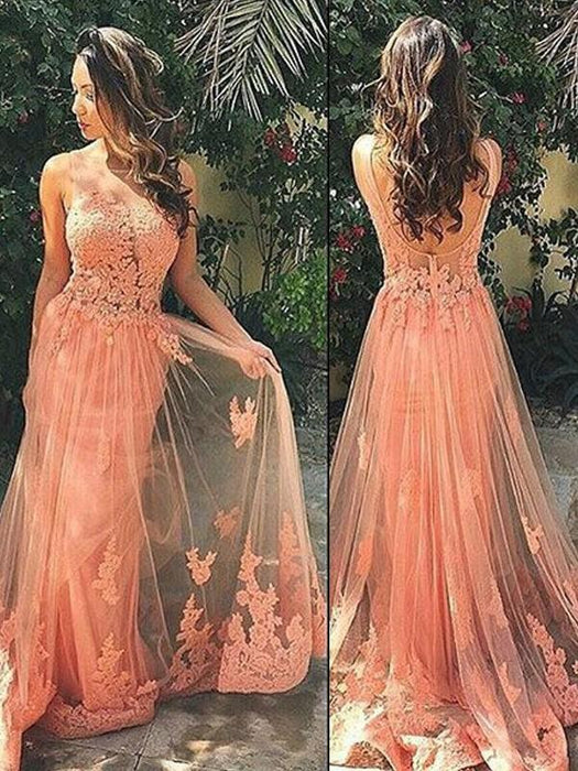 Chicloth A-Line Tulle Straps Sleeveless Sweep/Brush Train With Applique Dresses-Prom Dresses-Chicloth