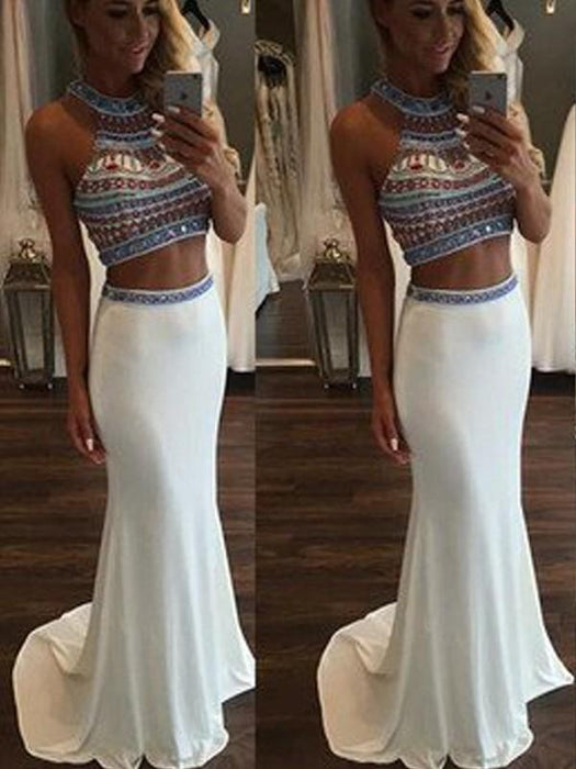 Chicloth Mermaid Chiffon Halter Sleeveless Sweep/Brush Train With Beading Two Piece Dresses-Prom Dresses-Chicloth