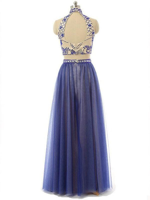 Chicloth A-Line Chiffon High Neck Sleeveless Floor-Length With Beading Two Piece Dresses-Prom Dresses-Chicloth