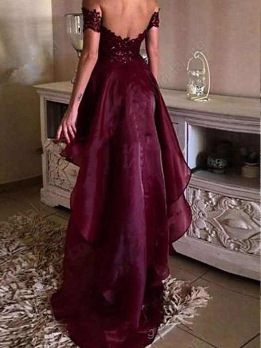 Chicloth A-Line Organza Off-The-Shoulder Sleeveless Asymmetrical With Applique Dresses-Prom Dresses-Chicloth