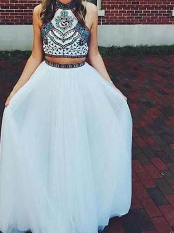 Chicloth A-Line Net Halter Sleeveless Floor-Length With Beading Two Piece Dresses-Prom Dresses-Chicloth