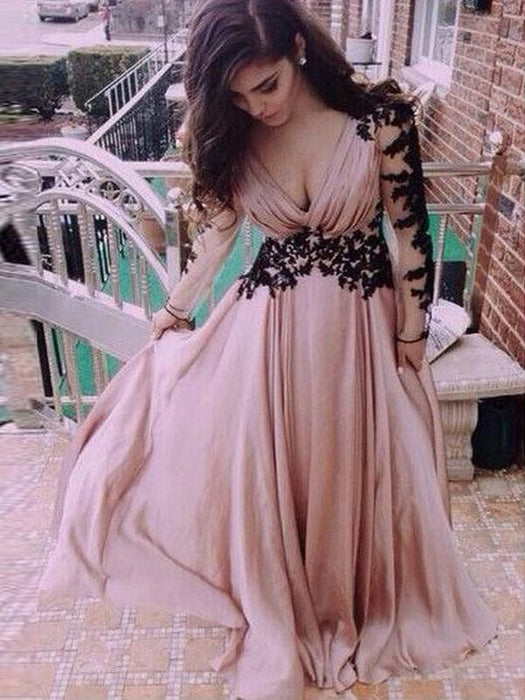 Chicloth A-Line Chiffon V-Neck Long Sleeves Floor-Length With Applique Dresses-Prom Dresses-Chicloth