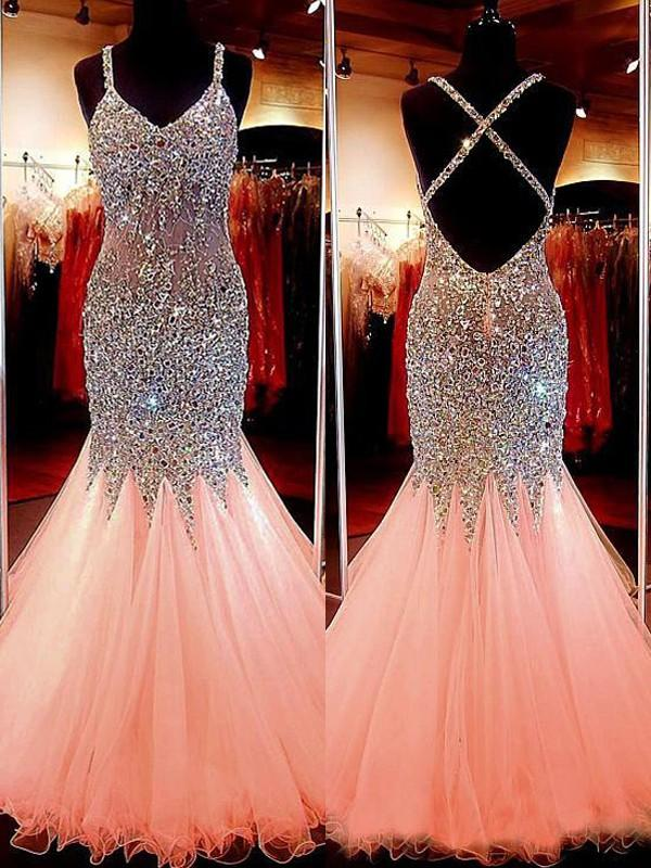 Chicloth Mermaid Sleeveless V-Neck Tulle With Sequin Floor-Length Dresses-Prom Dresses-Chicloth
