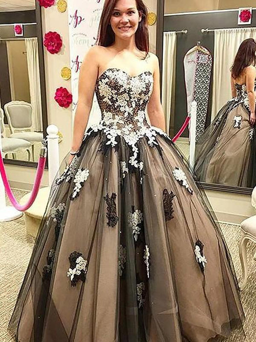 C| Chicloth Ball Gown Sleeveless Sweetheart With Applique Floor-Length Tulle Dresses-Prom Dresses-Chicloth