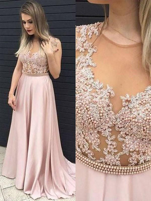 Chicloth A-Line Sleeveless V-Neck Satin With Lace Floor-Length Dresses-Prom Dresses-Chicloth