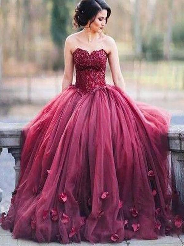 B| Chicloth Ball Gown Sleeveless Sweetheart With Applique Floor-Length Tulle Dresses-Prom Dresses-Chicloth