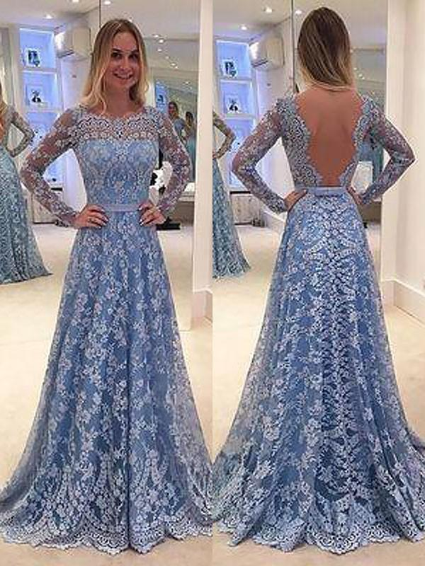 Chicloth A-Line Long Sleeves Lace Floor-Length Bateau With Ruffles Dresses-Prom Dresses-Chicloth