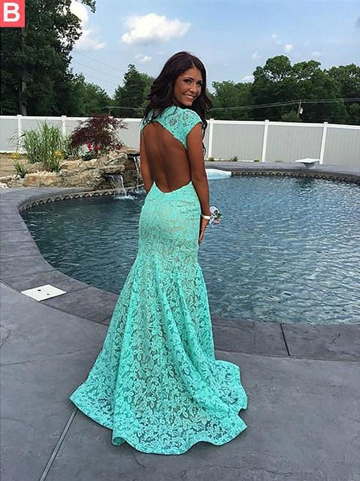 Chicloth Mermaid Sleeveless V-Neck Lace With Ruffles Sweep/Brush Train Dresses-Prom Dresses-Chicloth
