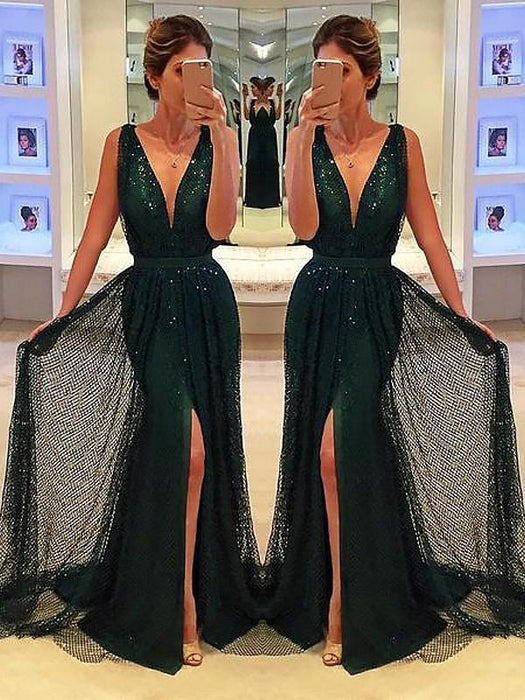 Chicloth A-Line Sleeveless V-Neck Sequins With Sash/Ribbon/Belt Sweep/Brush Train Dresses-Prom Dresses-Chicloth