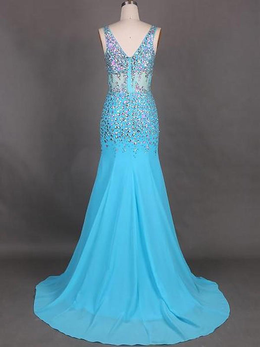 Chicloth Mermaid Sleeveless V-Neck Chiffon With Beading Sweep/Brush Train Dresses-Prom Dresses-Chicloth