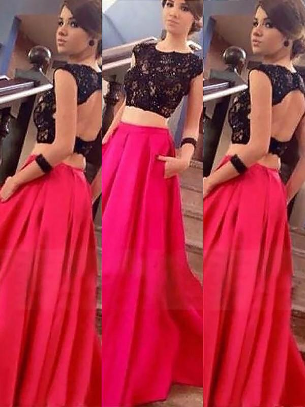 Chicloth A-Line Bateau Sleeveless Satin Floor-Length With Lace Two Piece Dresses-Prom Dresses-Chicloth