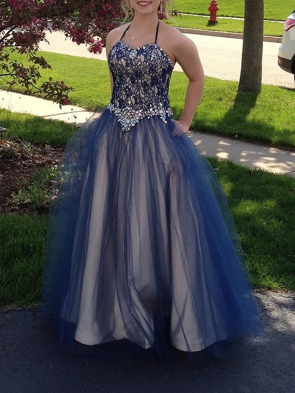 Chicloth Ball Gown Sleeveless Spaghetti Straps With Beading Floor-Length Tulle Dresses-Ball Gown Prom Dresses-Chicloth