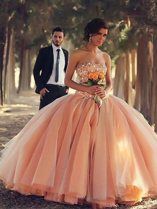 Chicloth Ball Gown Sleeveless Strapless With Beading Floor-Length Tulle Dresses-Ball Gown Prom Dresses-Chicloth