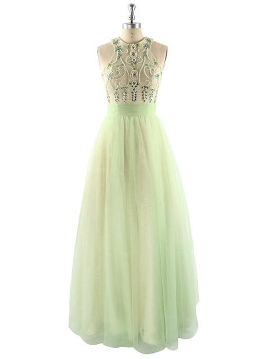 D| Chicloth Ball Gown Sleeveless Halter With Beading Floor-Length Tulle Dresses-Prom Dresses-Chicloth