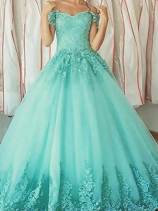 C| Chicloth Ball Gown Sleeveless Off-The-Shoulder With Applique Floor-Length Tulle Dresses-Prom Dresses-Chicloth