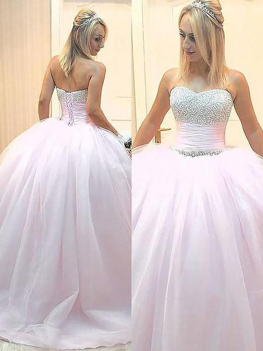 E| Chicloth Ball Gown Sleeveless Sweetheart With Beading Floor-Length Tulle Dresses-Prom Dresses-Chicloth