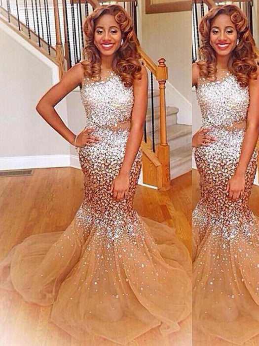 Chicloth Mermaid Bateau Sleeveless With Sequin Sweep/Brush Train Tulle Dresses-Prom Dresses-Chicloth