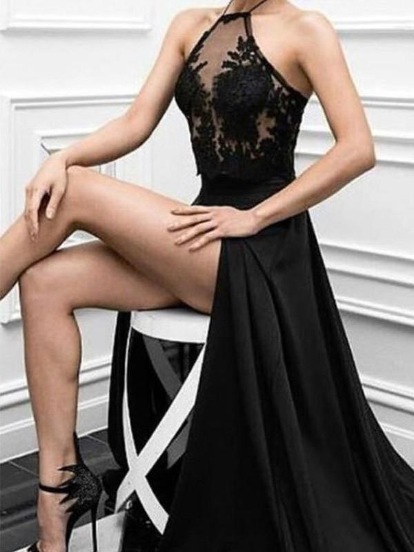 Chicloth A-Line Elastic Woven Satin Halter Sleeveless Floor-Length With Applique Dresses-Prom Dresses-Chicloth