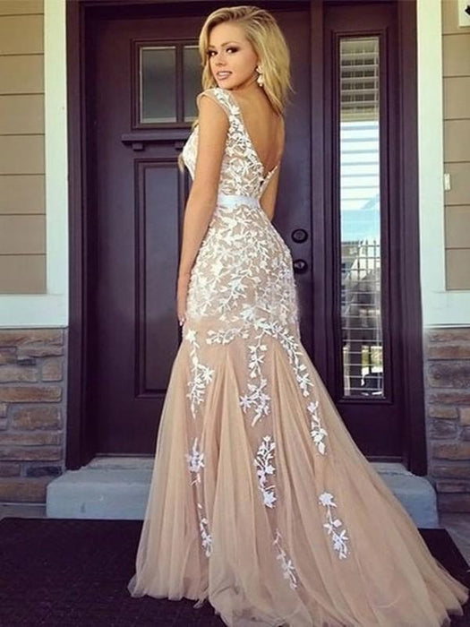 Chicloth Sheath Tulle Bateau Sleeveless Floor-Length With Applique Dresses-Prom Dresses-Chicloth