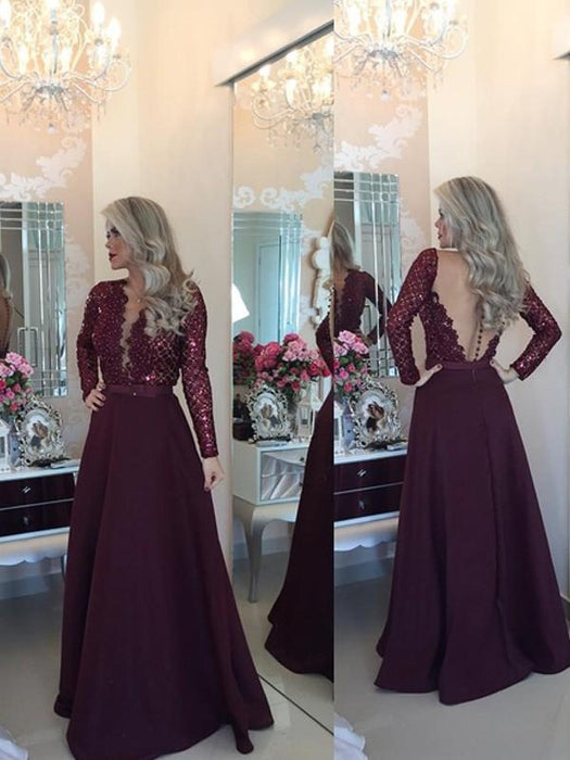 Chicloth A-Line Satin Scoop Long Sleeves Floor-Length With Sequin Dresses-Prom Dresses-Chicloth