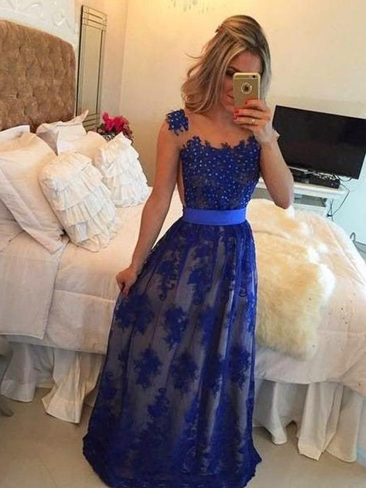 Chicloth Sheath Tulle Scoop Sleeveless Floor-Length With Applique Dresses-Prom Dresses-Chicloth