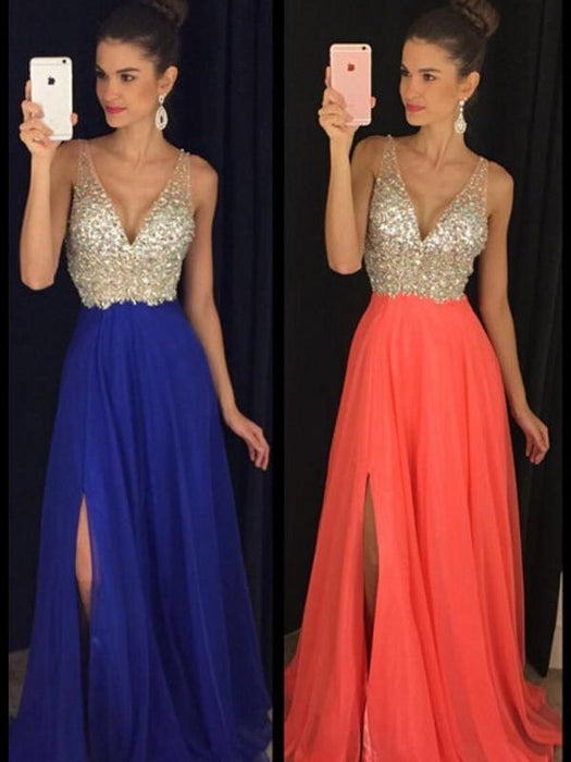 B| Chicloth A-Line Chiffon V-Neck Sleeveless Floor-Length With Beading Dresses-Prom Dresses-Chicloth