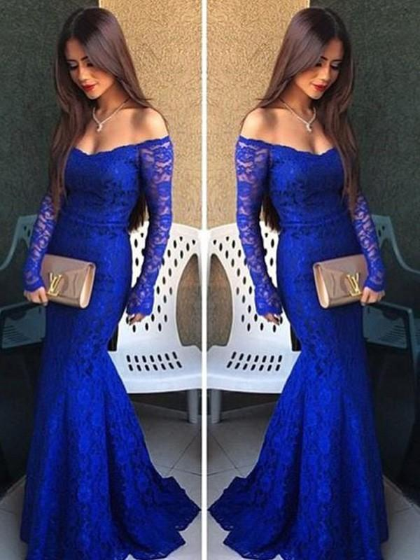 Chicloth Mermaid Lace Off-The-Shoulder Long Sleeves Floor-Length With Lace Dresses-Prom Dresses-Chicloth