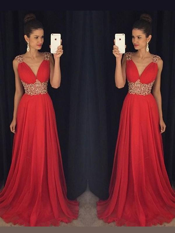 C| Chicloth A-Line Chiffon V-Neck Sleeveless Floor-Length With Beading Dresses-Prom Dresses-Chicloth