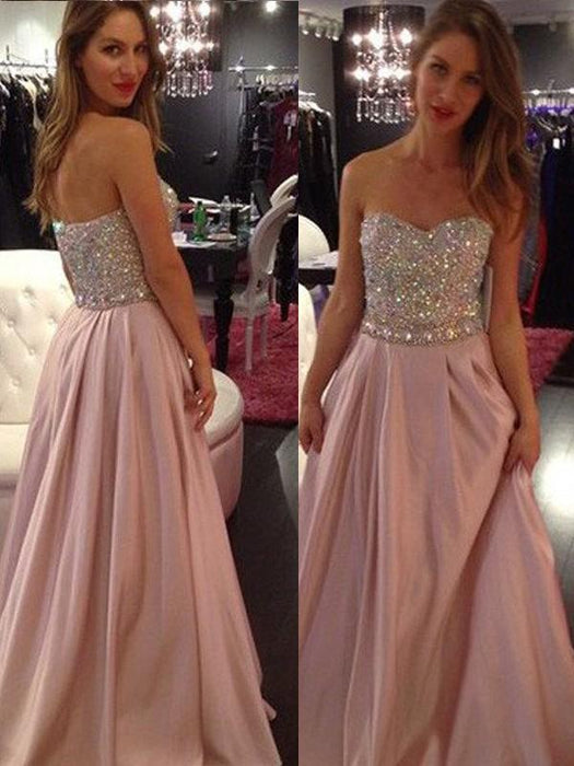 D| Chicloth A-Line Chiffon Sweetheart Sleeveless Floor-Length With Beading Dresses-Prom Dresses-Chicloth