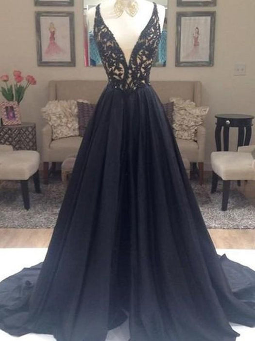 Chicloth A-Line Taffeta V-Neck Sleeveless Sweep/Brush Train With Beading Dresses-Prom Dresses-Chicloth