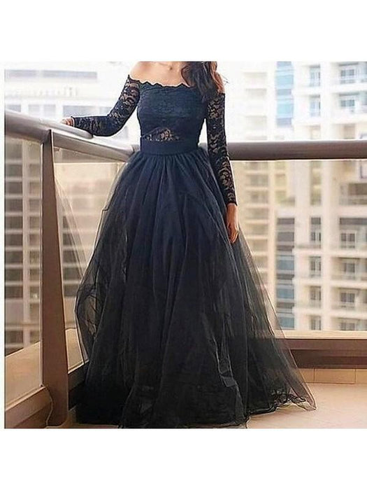 Chicloth A-Line Tulle Off-The-Shoulder Long Sleeves Floor-Length With Lace Dresses-Prom Dresses-Chicloth