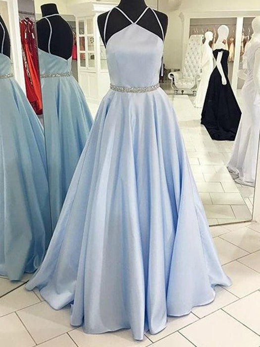 B| Chicloth A-Line Satin Halter Sleeveless Floor-Length With Beading Dresses-Prom Dresses-Chicloth