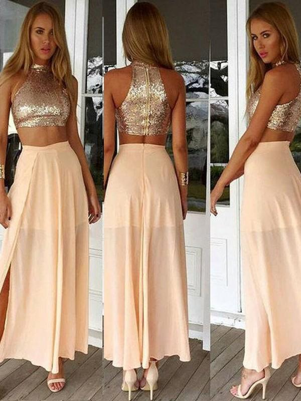 Chicloth A-Line Chiffon High Neck Sleeveless Ankle-Length With Sequin Dresses-Prom Dresses-Chicloth
