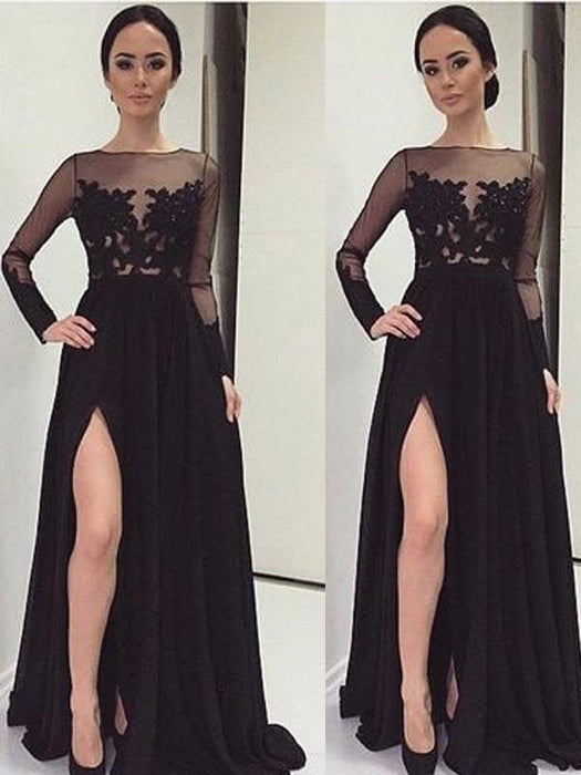 Chicloth A-Line Chiffon Bateau Long Sleeves Floor-Length With Lace Dresses-Prom Dresses-Chicloth