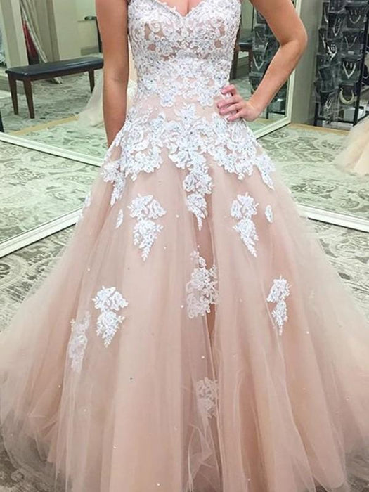 C| Chicloth Ball Gown Tulle Sweetheart Sleeveless Floor-Length With Applique Dresses-Prom Dresses-Chicloth