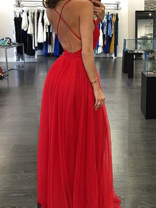 Chicloth A-Line Chiffon Spaghetti Straps Sleeveless Floor-Length With Ruffles Dresses-Prom Dresses-Chicloth
