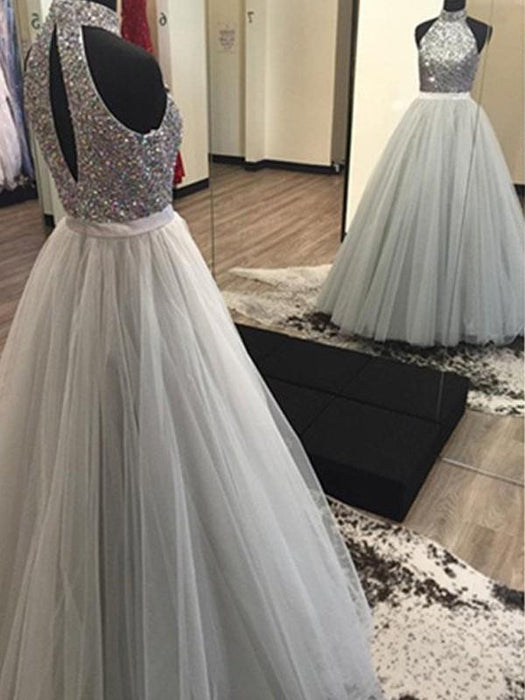 B| Chicloth A-Line Tulle Halter Sleeveless Floor-Length With Beading Dresses-Prom Dresses-Chicloth