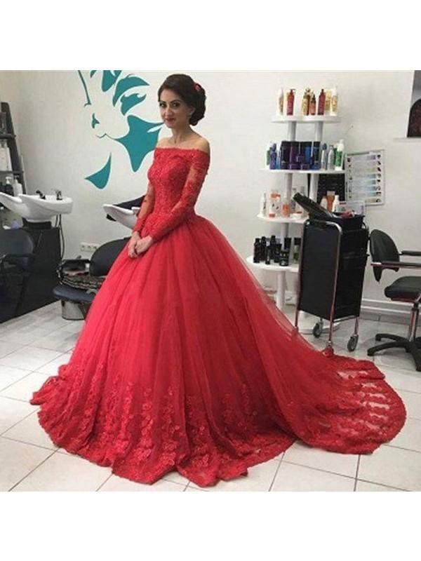 Chicloth Ball Gown Tulle Off-the-Shoulder Long Sleeves Court Train With Lace Dresses-Ball Gown Prom Dresses-Chicloth