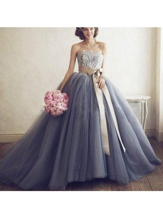 Chicloth Ball Gown Tulle Sweetheart Sleeveless Sweep/Brush Train With Applique Dresses-Ball Gown Prom Dresses-Chicloth