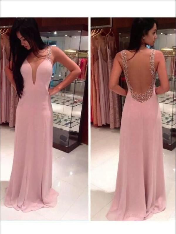 Chicloth A-Line Chiffon Straps Sleeveless Floor-Length With Beading Dresses-Prom Dresses-Chicloth
