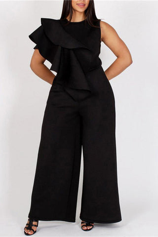 A| Chicloth Plus Size Ruffled Trim Side Bell Leg Jumpsuit